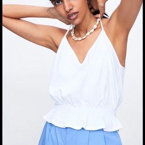 Zara V-neck Crop tip in White